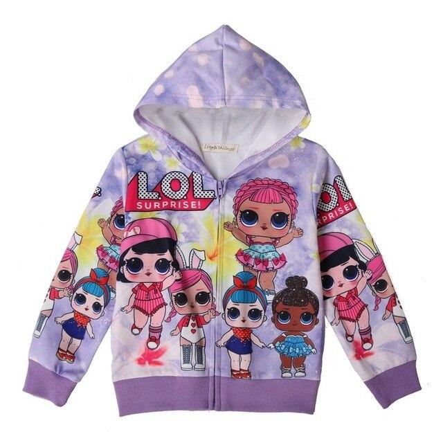 1d1696200ae3 New Girl Sweatshirt Children Hoodies LOL Dolls Costume Kid Jacket For Girls  Outwear Zip Sweatshirt Hooded Coat clothes 39017