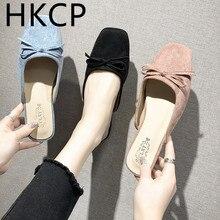 HKCP 2019 summer womens shoes new Korean version square head baotou half drag fashion bow flat slippers C478
