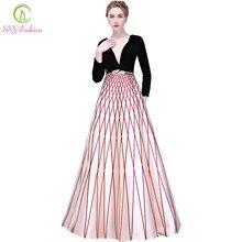 4ef7ed3fad172b0 Ssyfashion Новое Вечернее платье для торжеств черный велюр с бахромой длиной  до пола Длинные рукава Простой