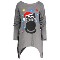 Fashion Design Women Christmas Hat Cat Printed Letter Dress Long Sleeve Irregular Mini Dress Plus Size