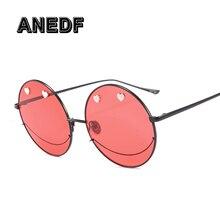 b8673d7b69e3f ANEDF Nova Tendência Da Moda Rodada óculos de Sol de Design Da Marca rosto  Sorridente Mulher Eyewear UV400 Lente Gradiente óculo.