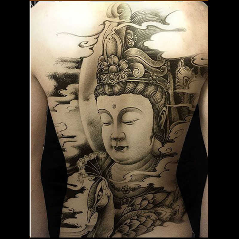 19d4a86d3 ... Super large temporary tattoo waterproof Buddhism statue of the Buddha  elephant fake tattoos sticker full back ...