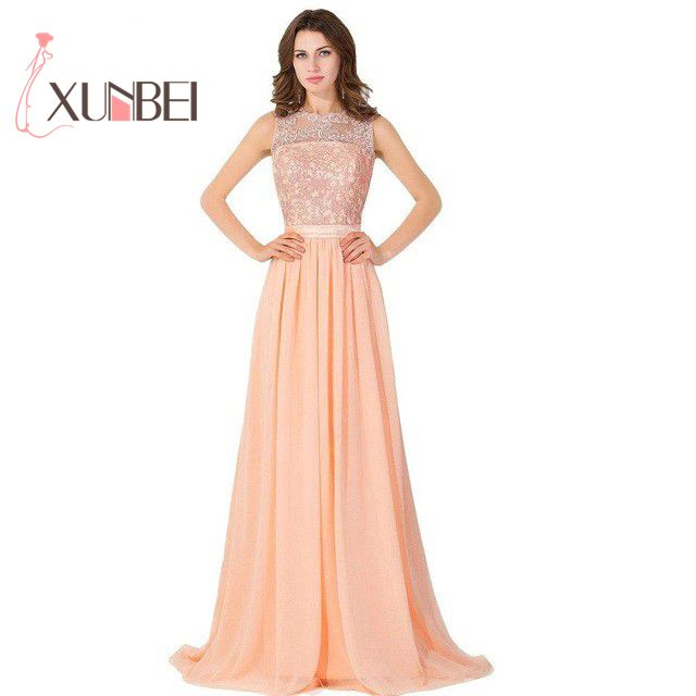 Robe demoiselle d'honneur In Stock A Line Long Coral Lace   Bridesmaid     Dresses   2018 Beaded Chiffon Prom   Dresses   Party Gown