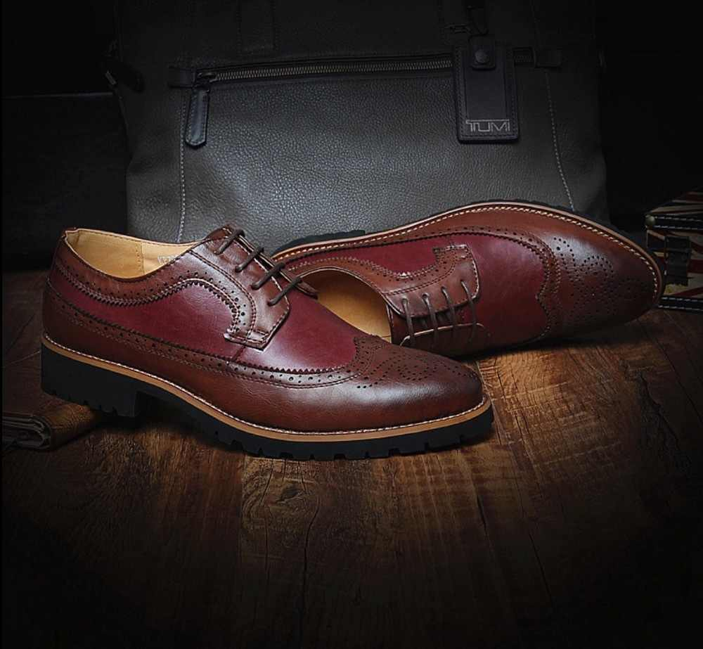 GOXPACER แฟชั่น Brockden แกะสลักรองเท้าผู้ชายฤดูใบไม้ผลิและฤดูใบไม้ร่วงชาย vintage ของแท้หนัง pointed toe lacing casual รองเท้า