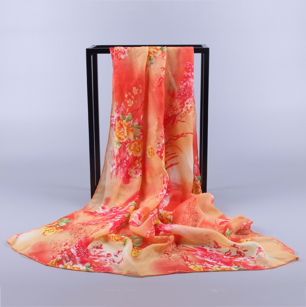 spring summer chiffon scarf leaf floar print large shawl for women