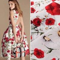 100x135 سنتيمتر رائع تماما أبيض أزهر الأحمر روز زهرة المطبوعة 100% ٪ نسيج للمفروشات اللحف الملابس diy النسيج