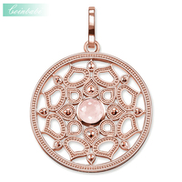 Pendant Pink Lotus Flower Small Rose Gold Color For Women Trendy Silver Gift Thomas Style High