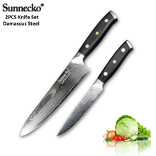 SUNNECKO 2PCS Damascus Steel Knife Set Santoku Utility Paring Japanese VG10 Core Sanding G10 Handle Chef Meat Cutter Cook Knives