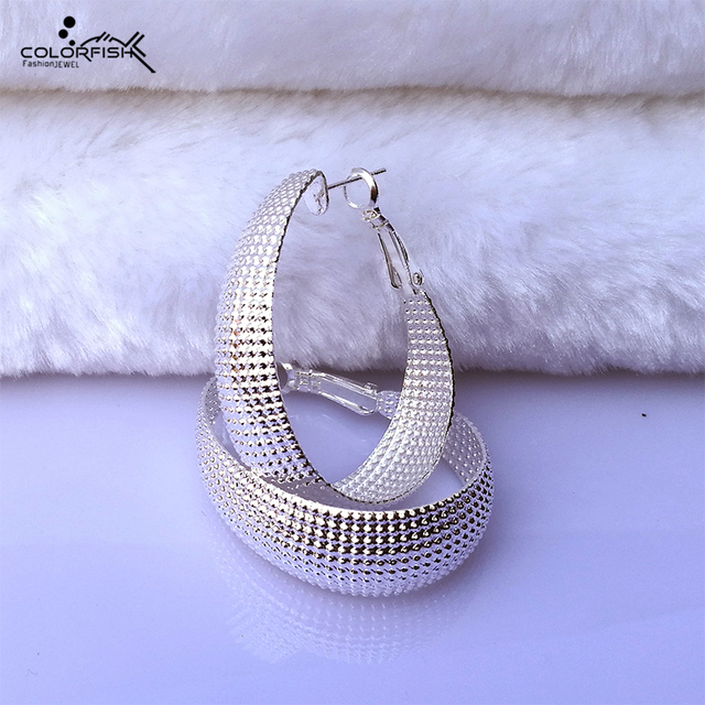 Colorfish Round Hoop Earrings For Women Silver Color Fashion Jewelry Large Circle Female Clip