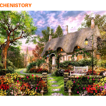 CHENISTORY Frameless Dream Manor DIY Painting By Numbers Hand Painted Oil Painting Acrylic Paint On Canvas For Home Decor 40x50 chenistory pink europe flower diy painting by numbers acrylic paint by numbers handpainted oil painting on canvas for home decor