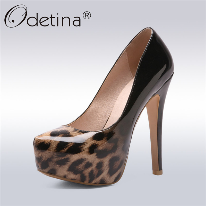 Odetina 2018 New Fashion Women Platform Pumps Super High Heel Shoes Slip On Ladies Pumps Patent Leather Ladies Shoes Big Size 48 nayiduyun women genuine leather wedge high heel pumps platform creepers round toe slip on casual shoes boots wedge sneakers
