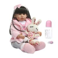 New Style 50cm Adorable Silicone Newborn Reborn Doll Lifelike Girl Dolls Toddler Gifts Nipple Bottle Early Childhood Kids Toys