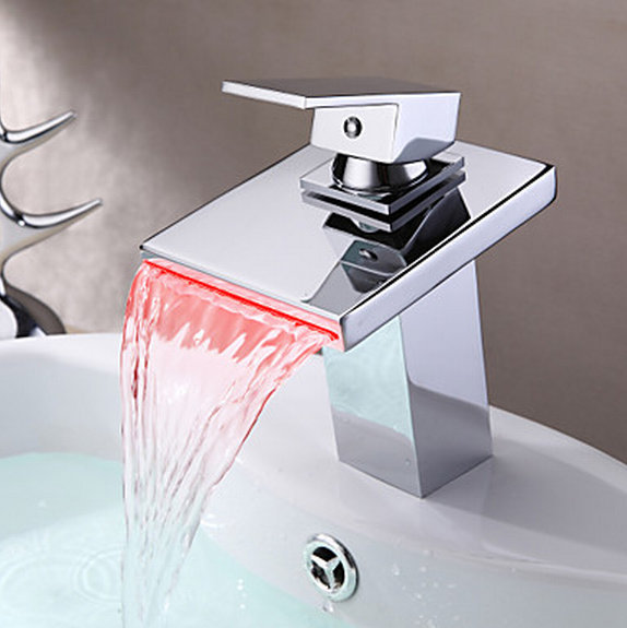 Basin Sink LED Light New Chrome Brass Bathtub Faucet Deck Mount 8001 Mixer Tap banheira torneira Waterfall Mixer Tub Faucet Tap chrome kitchen sink faucet solid brass spring two spouts deck mount kitchen mixer tap