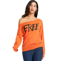 CharMma 2018 New Fashion Free Print Skew Collar Sweatshirt Women Spring Autumn Long Sleeve Hoodies Female
