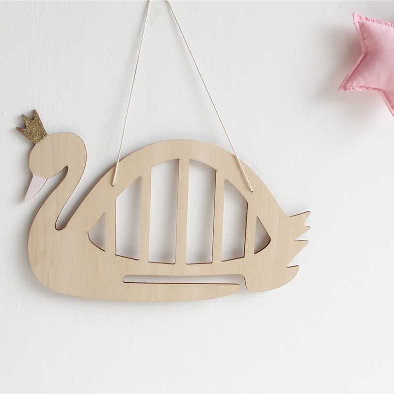 Ins Nordic дерево Лебедь с кружевной лентой для хранения ювелирных изделий шпилька настенные декорации Детская комната Декор и реквизит