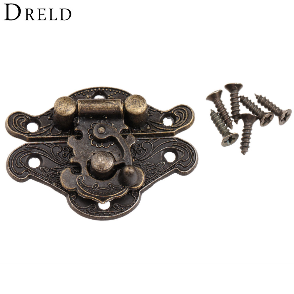 DRELD Antique Bronze Jewelry Wooden Box Hasps Drawer Latches Decorative Brass Suitcases Hasp Latch Buckle Clasp 38x29mm/48x37mm