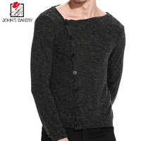 John S Bakery Brand 2017 New Fashion Autumn Casual Sweater Oblique Button O Neck Slim Fit
