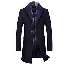 Winter Wool Jacket Men British Style Scarf Collar Trench Coat Male Casual Long W