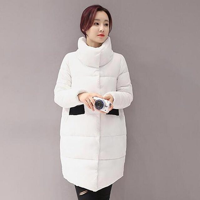 2016 новая осень зимние куртки женщины стоять воротник пальто среднего длинные свободные хлопок верхняя одежда cocoon женская теплая верхняя одежда kp0956