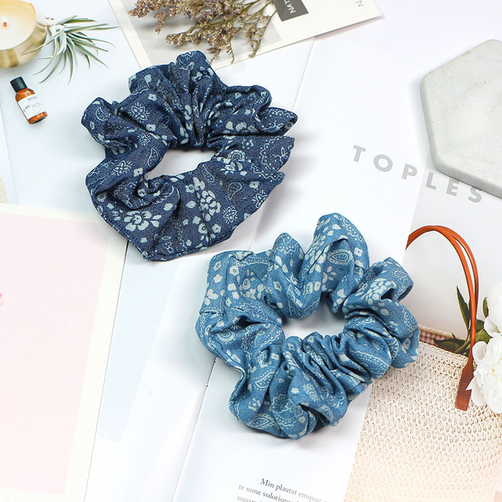 2019 Light Color Elasticity Scrunchie Women Girls Hair Rope Tie Fashion Blue Plaid Elastic Hair Band Ponytail Holder Headband in Women 39 s Hair Accessories from Apparel Accessories