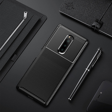 For Sony Xperia XZ4 Case Silicone Shell Carbon Fiber TPU High Quality Diamond Grid Design Cover for