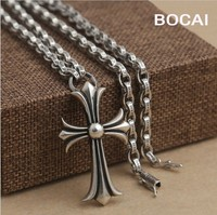 Black silver jewelry wholesale 925 sterling silver jewelry necklace with men Cross Pendant xh041176-4w