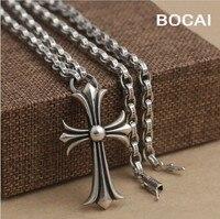 Nero all'ingrosso di gioielli in argento 925 collana gioielli in argento con gli uomini Croce Pendente xh041176-4w