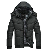 Winter Coat Men Classic Black Solid Jacket Warm Male Overcoat Parka Outwear Cotton Padded Hooded Down