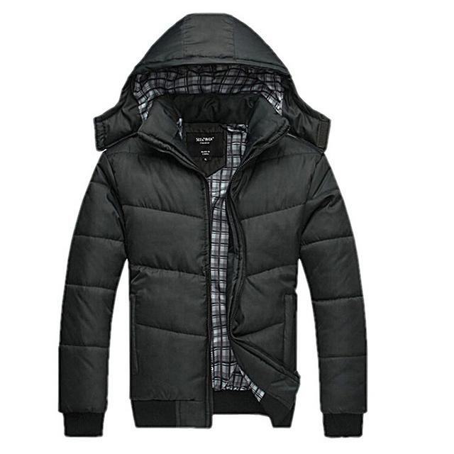 Homens Casaco de inverno preto clássico sólida casaco quente casaco parka outwear algodão acolchoado com capuz para baixo casaco masculino jaquetas de algodão dos homens