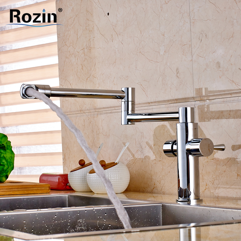 Classic Chrome Folding Stretch Kitchen Faucet Dual Handle Hot and Cold Switch Mixer Taps Deck Mounted