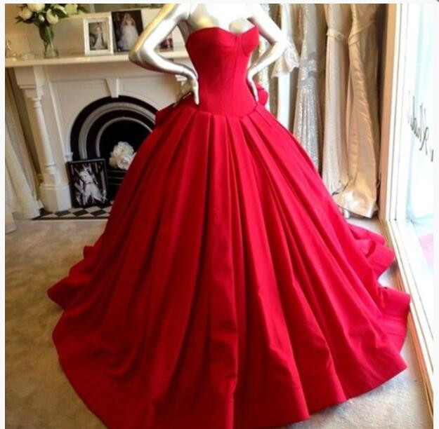 00495724265 Gorgeous Red Ball Gown Prom Dresses Custom Made Sweetheart Corset Bodice  Puffy Satin Court Train Evening Gowns Pageant Dress