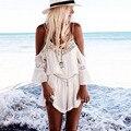 2016 New Arrival Mulheres Lace Correias Halter Crochê Praia Jumpsuits Playsuits Verão Romper Curto Macacão Mujer #25