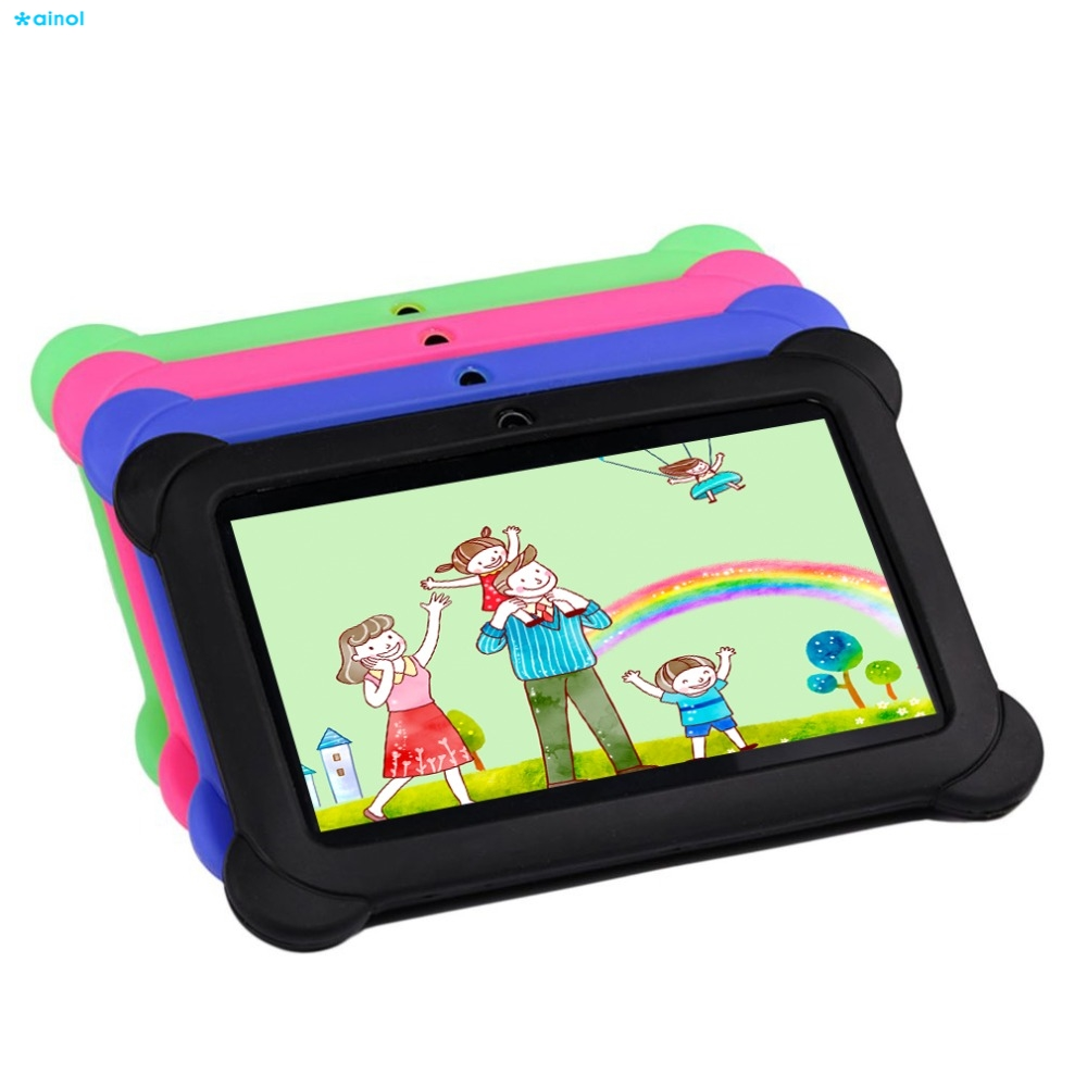 Ainol 7 inch Children Tablet 1GB+8GB Quad Core 0.3MP Dual Camera 1024*600 Android 4.4 Tablet PC Kids Tablet With Silicone Cover ainol ax7 cpu mt8392 1gb ainol ax7 tablet phablet 7