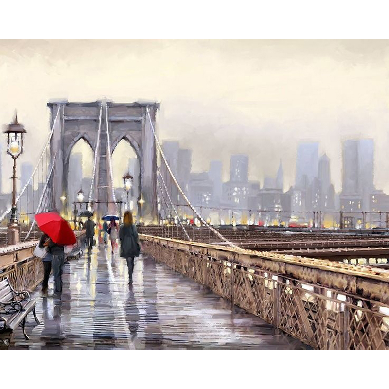 Pedestrians On The Bridge Hand Made Paint High Quality Canvas Beautiful Painting By Numbers Surprise Gift Great Accomplishment