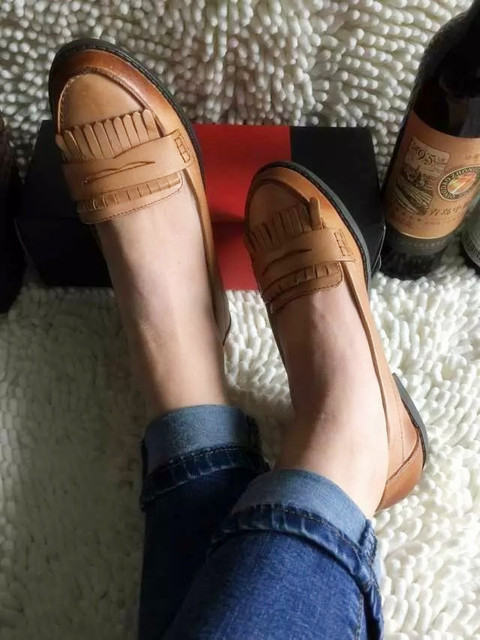 2015 New Women's High Quality Sheepskin Tassel Fashion Flat Heel Stylish Loafers Closed Round Toe Comfortable Casual Shoes