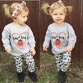 Conjunto de Roupas Meninas do bebê Crianças Criança Camisa de Manga Longa Tops + Calça + Headband 3 Pc Set Outfit