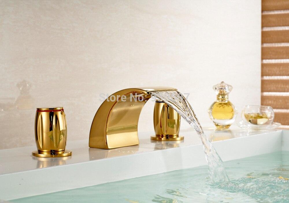 Bathroom 3 pcs Gold plate Sink Faucet Dual Handles Mixer Tub Tap