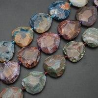 1 прядь режущей поверхности Природных Дракон вен Ocean агат плиты нерегулярные Треугольники Форма камень Loose бусы