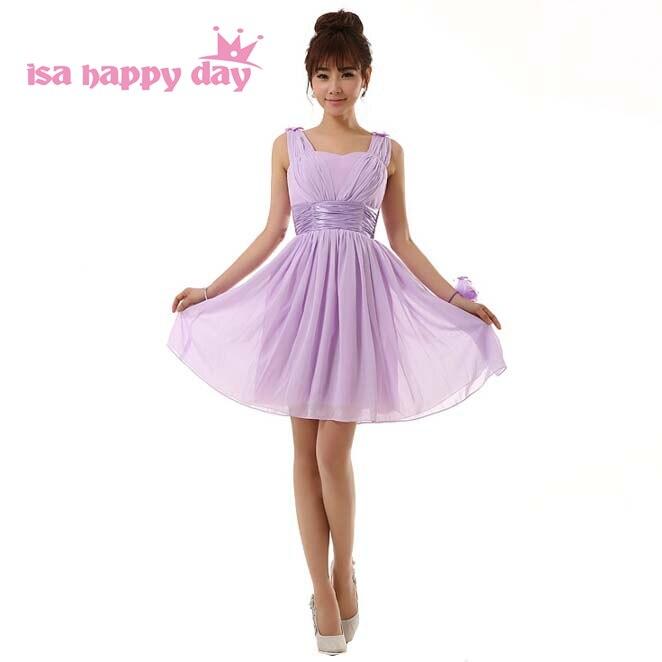 robe de soiree lilac   bridesmaid     dresses   chiffon short sleeveless v-neck made party elegant women   dress   light purple H2698