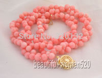 HOT SELL Woman's Jewellery Natural Rare 2 rows beautiful 17 6 7mm pink round coral necklace Wholesale Silver hook Free Top