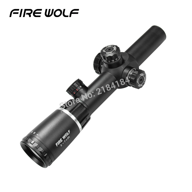 FIRE WOLF New 2-7X24 Rifle optics Scope W/ Mounts Free Shipping red dot reddot Riflescopes Hunting 2017 new fire wolf 4 5 14x42 sf b riflescopes rifle scope hunting scope fits for 11mm 20mm rail free shipping