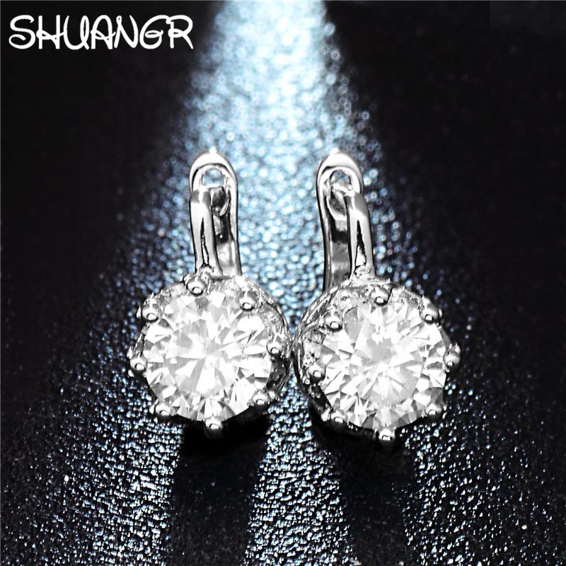 SHUANGR 2017 Stud Earings Fashion Jewelry Unisex Trendy Women/Men Crystal Earrings Crown Earring Piercing Gifts Wholesale