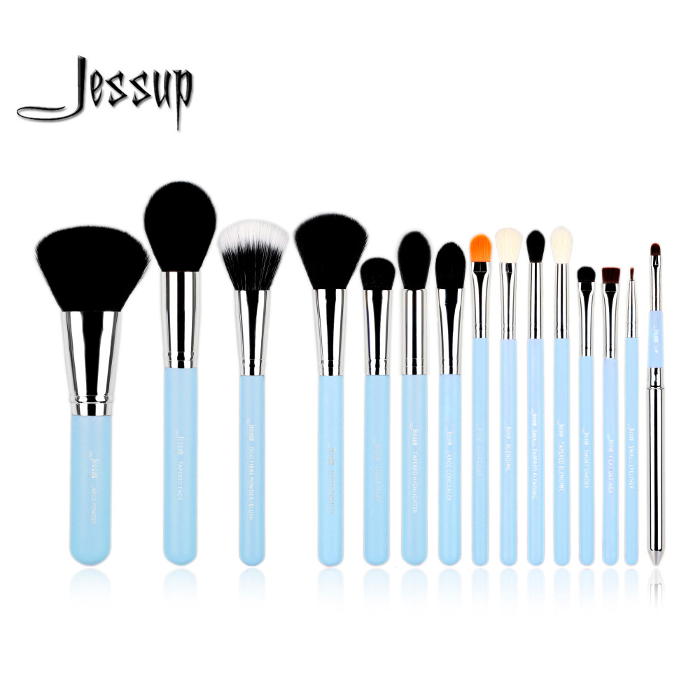 Jessup Pro 15pcs Makeup Brushes Sets Blue/Silver beauty tools Make up Brush Powder Foundation Eyeshadow Eyeliner Lip Brush Tool
