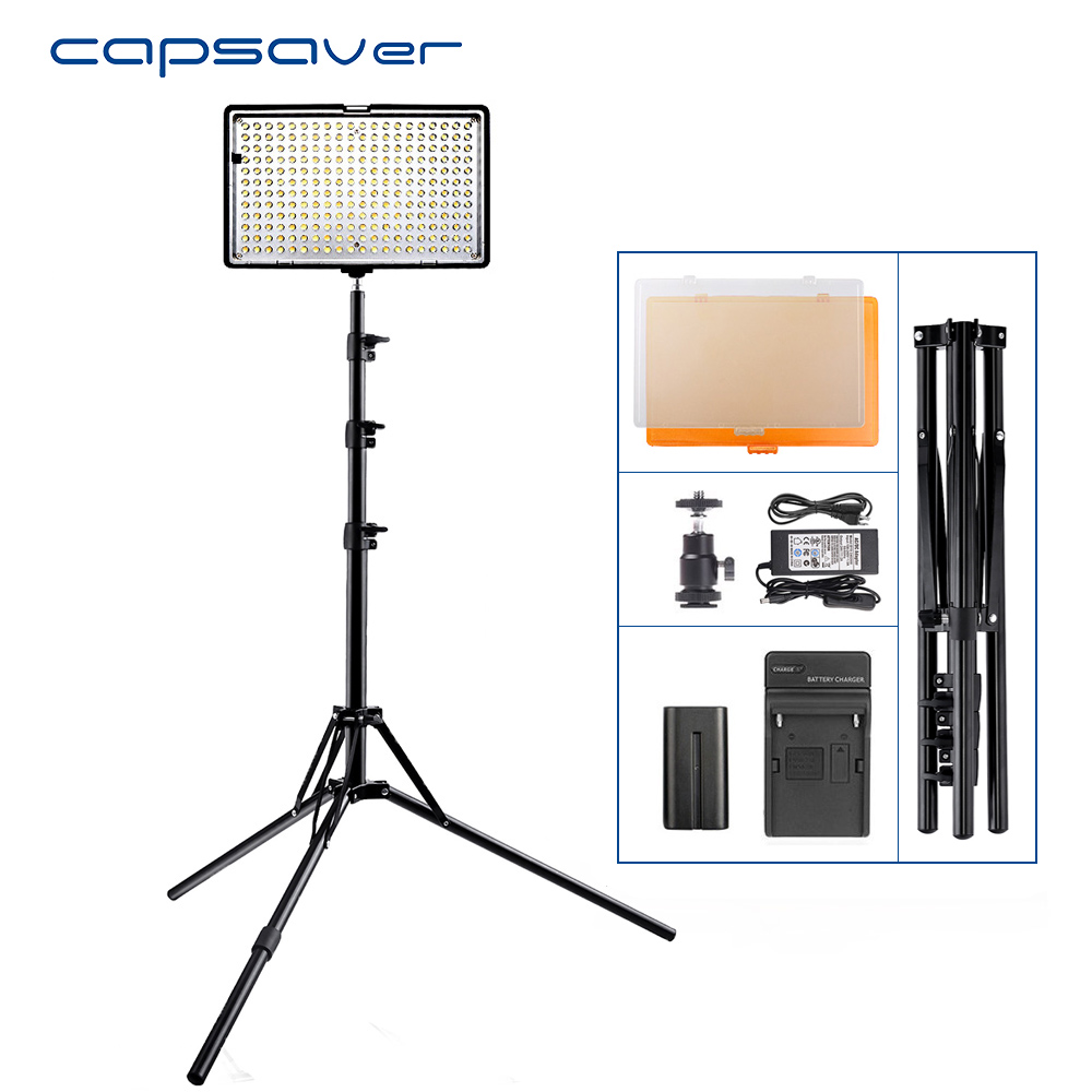 capsaver TL-240S 1 set LED Video Light with Tripod 3200K/5600K CRI93 Photography Lighting for Vlog Camera Studio LED Lamp Panel spash tl 240s 1 set led video light with tripod stand cri 93 3200k 5600k studio photo lamp led light panel photographic lighting