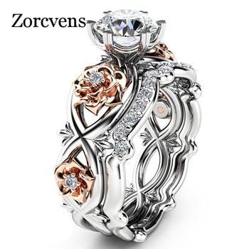 ZORCVENS Nouveau 2 pcs Cristal Autrichien Bijoux Cubique Zircone Rose Fleur Anneaux De Mariage pour les Femmes