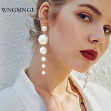 WNGMNGL 2018 Hot Sale Fashion Drop Earrings exaggeration Big Statement Simulated Pearl Dangle For Women Elegant Jewelry