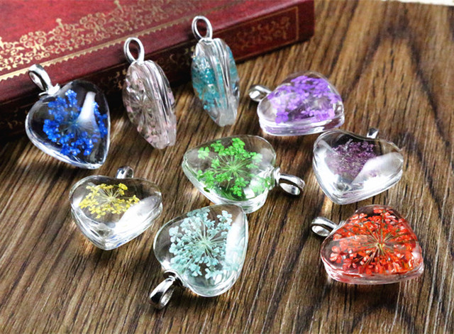 5pcs 27x20mm Hot sale Jewelry Crystal Glass Real Dried Flower Heart Necklace Pen