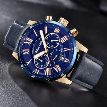 Watches Mens 2019 BENYAR Quartz Chronograph Men Watch Top Brand Luxury Leather Men Sports Watches Waterproof Relogio Masculino naviforce mens watches top brand luxury analog quartz watch men leather chronograph sports military watches relogio masculino