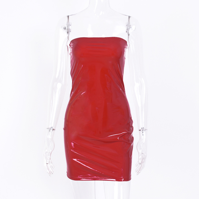 Mini bandeau patent leather red dress