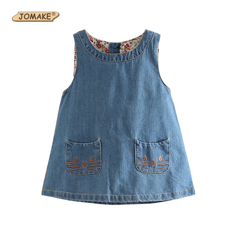 New Fashion 2018 Summer Girls Dress Cute Denim Cartoon Cat Children Clothes High Quality Kids Dresses For Girls Casual Costume